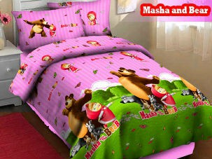 Grosir Bedcover  fortuna Masha ungu pink