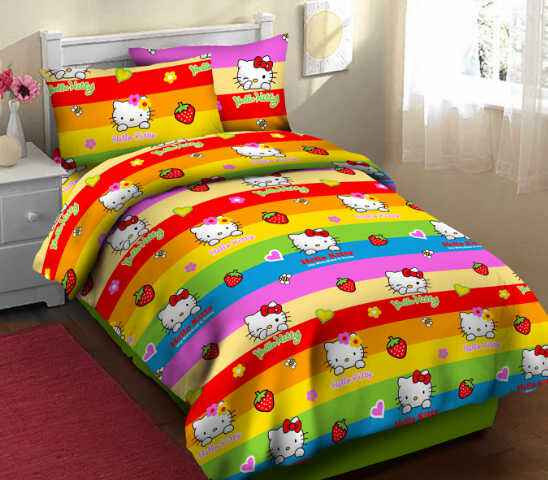 Sprei  fortuna Motif Kitty pelangi